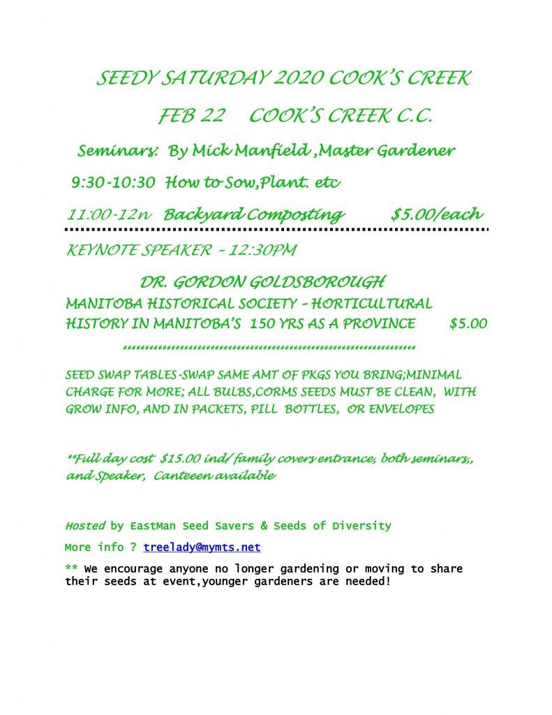 Seedy Saturday - Cooks Creek, Manitoba @ Cooks Creek Community Club