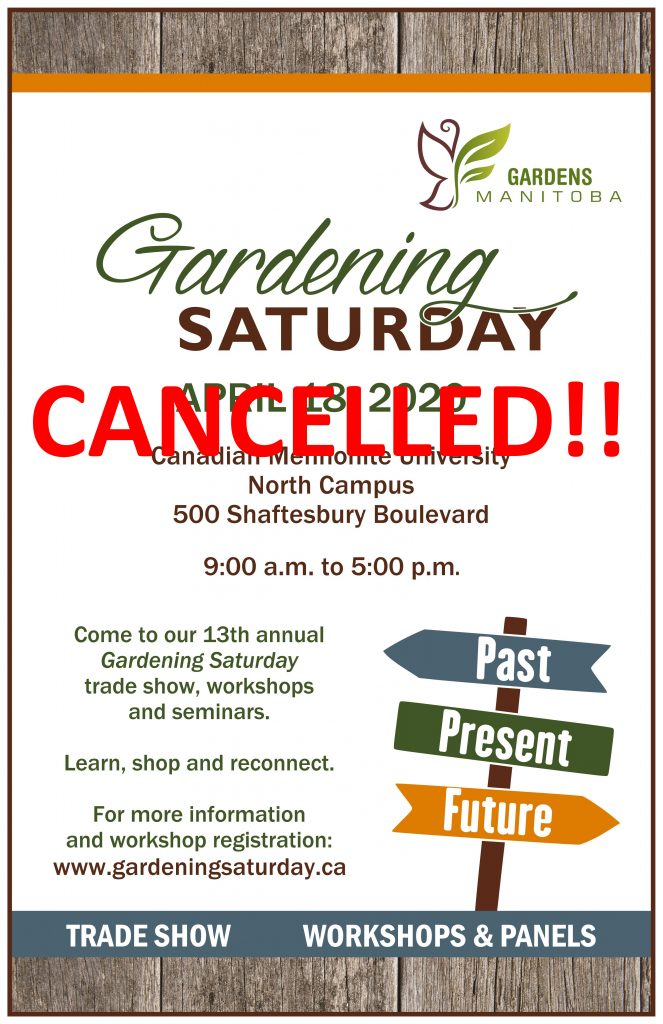 CANCELLED - Gardening Saturday - Winnipeg @ Canadian Mennonite University North Campus