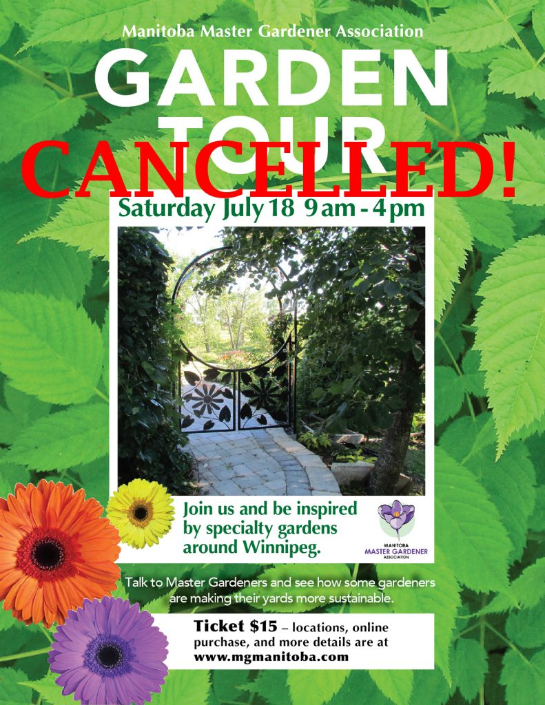 CANCELLED! - Garden Tour - Manitoba Master Gardener Association @ Winnipeg, Manitoba